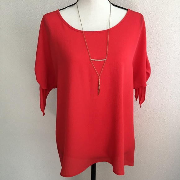 MICHAEL Michael Kors Tops - Michael Kors orange red blouse bow tie sleeve M